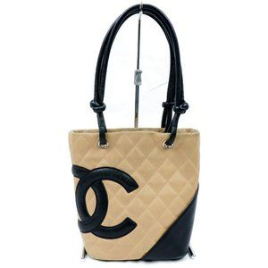 Auth Chanel Cambon Shoulder Bag Beige #3380C30